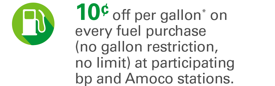 10¢ off per gallon* on EVERY fuel purchase (no gallon restriction, no limit) at participating bp and Amoco stations.