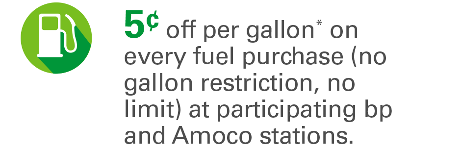 5¢ off per gallon* on every fuel purchase (no gallon restriction, no limit) at participating bp and Amoco stations.